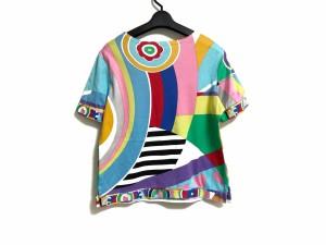 レオナール LEONARD 半袖Tシャツ サイズ40 M レディース 美品 ライトブルー×ピンク×マルチ SPORT【中古】