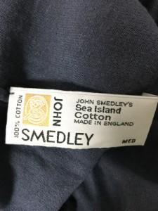 ジョンスメドレー JOHN SMEDLEY 半袖セーター レディース ネイビーグレー タートルネック【中古】