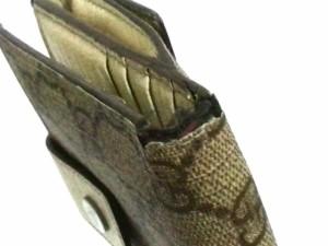 グッチ GUCCI 2つ折り財布 レディース GG柄 115032 ベージュ×ダークブラウン×アイボリー PVC(塩化ビニール)×レザー【中古】