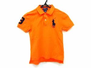 94490c346ca15 ポロラルフローレン POLObyRalphLauren 半袖ポロシャツ サイズ7 S レディース ビッグポニー オレンジ×ダークネイビー