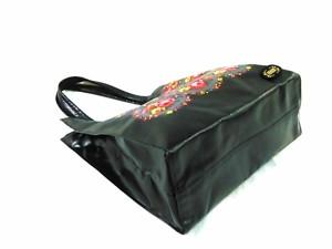フェイラー FEILER トートバッグ レディース 黒×ピンク×マルチ 花柄 PVC(塩化ビニール)×合皮【中古】