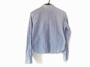 アニエスベー agnes b 長袖シャツブラウス サイズ2 M レディース 白×ブルー ストライプ【中古】