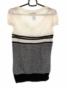 セリーヌ CELINE 半袖セーター サイズM レディース 白×黒 ボーダー【中古】