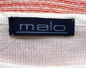 マーロ MALO 長袖カットソー サイズ44 L レディース 美品 白×レッド ボーダー【中古】