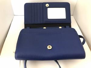 フルラ FURLA 財布 レディース 新品同様 ブルー ショルダーウォレット(ストラップ取外し可)/ミラー付き レザー【中古】