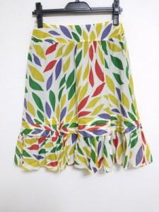 ホコモモラ JOCOMOMOLA スカート サイズ40 XL レディース 白×イエロー×マルチ de Sybilla【中古】
