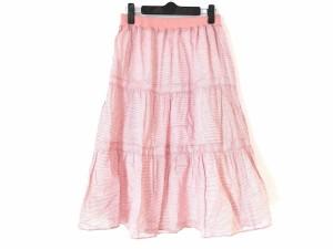 ソニアリキエル SONIARYKIEL ロングスカート サイズ38 M レディース 美品 ピンク×アイボリー ウエストゴム/ボーダー【中古】