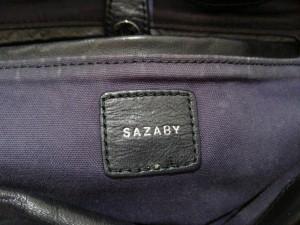 サザビー SAZABY ショルダーバッグ レディース 黒 パンチング レザー【中古】