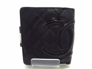 シャネル CHANEL 2つ折り財布 レディース カンボンライン 黒 がま口 ラムスキン×エナメル(レザー)【中古】