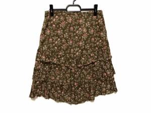 ラルフローレン RalphLauren スカート サイズ11 M レディース ブラウン×マルチ フリル/花柄【中古】
