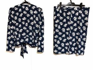 レリアン Leilian スカートスーツ サイズ13+ S レディース 新品同様 ネイビー×ベージュ×マルチ 肩パッド/花柄【中古】