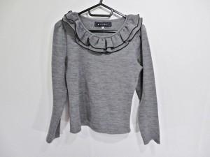 エムズグレイシー M'S GRACY 長袖セーター サイズ38 M レディース グレー×黒 フリル【中古】