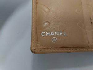 シャネル CHANEL 2つ折り財布 レディース カンボンライン ベージュ×黒 がま口 ラムスキン【中古】