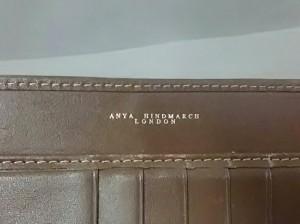 アニヤハインドマーチ Anya Hindmarch 長財布 レディース ベージュ×ダークブラウン ジャガード×レザー【中古】