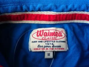 ワイメアクラシック Waimea Classic 半袖ポロシャツ サイズM M レディース ブルー×レッド×イエロー ダメージ加工【中古】