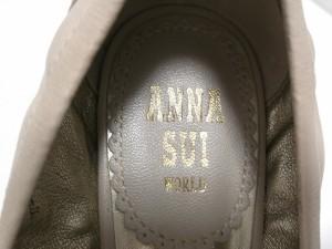 アナスイ ANNA SUI パンプス 22.5 レディース 美品 ベージュ オープントゥ/ウェッジソール レザー【中古】