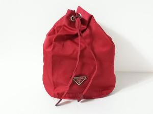 48c650a0b9ec プラダ PRADA ポーチ レディース - レッド 革タグ/巾着型 ナイロン【中古】. 画像1