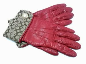 5be9b4878356 コーチ COACH 手袋 6 2/1 レディース シグネチャー柄 レッド×カーキ レザー×ジャガード