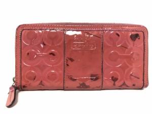 b3b2d18d2c73 コーチ COACH 長財布 レディース - ピンク ラウンドファスナー/型押し加工 エナメル(レザー