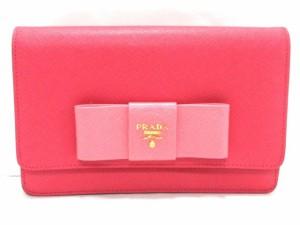f638fa153f63 プラダ PRADA 財布 レディース 美品 - ピンク ショルダーウォレット/リボン サフィアーノレザー【中古
