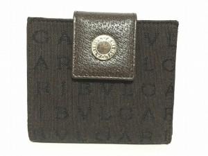20548d5f6245 ブルガリ BVLGARI 2つ折り財布 レディース ロゴマニア ダークブラウン×黒 ジャガード×レザー【