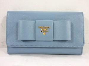 3861c9ce03b6 プラダ PRADA 財布 レディース 美品 - 1M1437 ライトブルー ショルダーウォレット/リボン サフィアーノフィオッコ