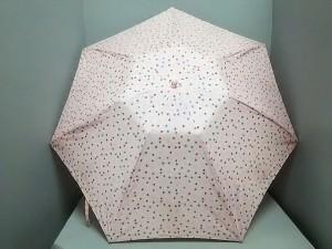 acfc51567e3d セリーヌ CELINE 折りたたみ傘 レディース 美品 ピンク×ライトグレー×レッド ハート 化学繊維