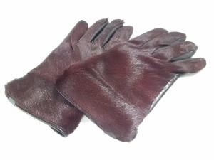 bd06459ba952 エンポリオアルマーニ EMPORIOARMANI 手袋 M メンズ 美品 ボルドー×黒 ハラコ×レザー【中古