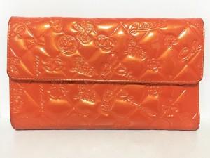 697df0e35223 シャネル CHANEL 長財布 レディース アイコン オレンジ 型押し加工 エナメル(レザー)【中古