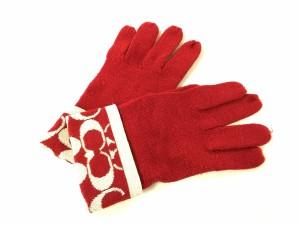 b1beb75d960a コーチ COACH 手袋 レディース シグネチャー柄 レッド×白 アクリル×ウール×その他の繊維