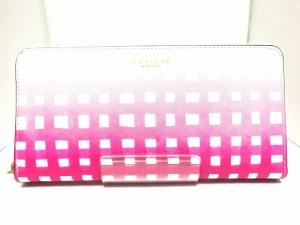 0b38bc2a0689 コーチ COACH 長財布 レディース 新品同様 - 白×ピンク チェック柄/ラウンドファスナー