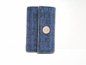 6e811491b9ab ブルガリ BVLGARI キーケース レディース ロゴマニア ブルー 6連フック デニム【中古】