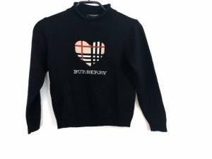 b505343b9b7cc バーバリーロンドン 長袖セーター サイズ120 レディース 新品同様 黒×ベージュ×マルチ 子供服