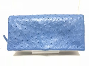 de9693a20956 ロダニア RODANIA 長財布 レディース 新品同様 オーストリッチ ブルー 型押し加工 レザー【中古】