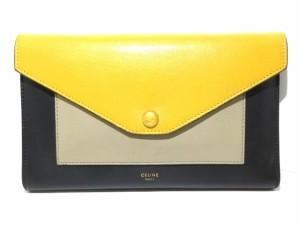 14a725190943 セリーヌ 財布 レディース ラージフラップオンチェーン 1B.20MB 黒×イエロー×ベージュ チ