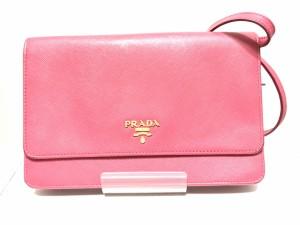6ca3a26c7db8 プラダ PRADA 財布 レディース - 1M1361 ピンク ショルダーウォレット/ストラップ取外し可 サフィアーノメタルレザー
