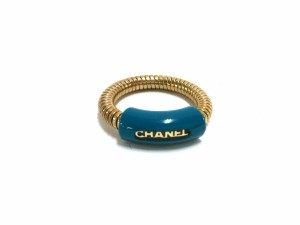 17bedb601943 シャネル CHANEL リング レディース 美品 金属素材×プラスチック ゴールド×ブルー【中古】