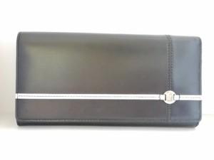 7880b712a988 アニエスベー agnes b 長財布 レディース 黒×アイボリー×シルバー 型押し加工 レザー【