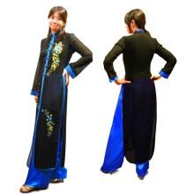 【サイズ交換OK】シースルーがかわいい★アオザイ シルク・ドレス(セルリアンブルー) XL1着、XXL2着のみ