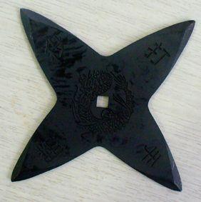 忍者武具 手裏剣Mサイズ・十字型(黒色)