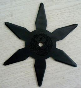 忍者武具 手裏剣Lサイズ・六角型(黒色)