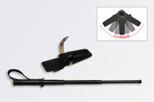 【送料が安い!】日本製三段警棒デラックスタイプ(鍔付) 専用皮ケース付 MR-DX