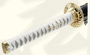 【勝海舟拵】美術日本刀(模造刀) +紫の刀剣袋(裏地付) 付属
