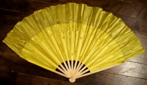 木製 踊り扇子・大(黄色)右手用