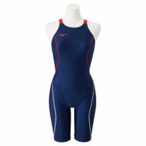 ミズノ 女性用競泳水着 ハーフスーツ(レースオープンバック)(ネイビー×レッド・サイズ:S) N2MG022486S返品種別B