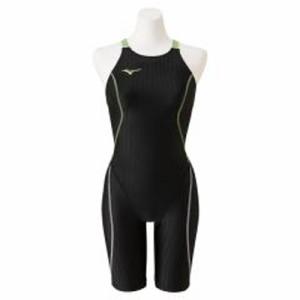 ミズノ 女性用競泳水着 ハーフスーツ(レースオープンバック)(ブラック×ライム・サイズ:L) N2MG022494L返品種別B