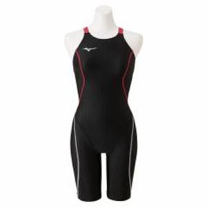 ミズノ 女性用競泳水着 ハーフスーツ(レースオープンバック)(ブラック×ローズ・サイズ:S) N2MG022497S返品種別B