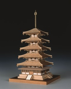 ウッディージョー 木製 1/150 法隆寺 五重の塔