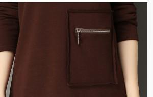 ジッパーポケット付きチュニックカットソー ラウンドネック 長袖 インナー ロンT 大きいサイズ レディース【予約】erovy-26399TS