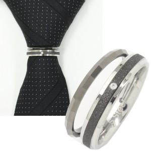 ネクタイリング・ラメブラック×エッジ・一粒ストーン・2本のタイリング(スカーフリング)